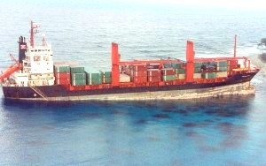Container Vessel Grounding East Island, Papua New Guinea